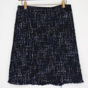 Ann Taylor Navy Blue Tweed Fringe Trim Skirt